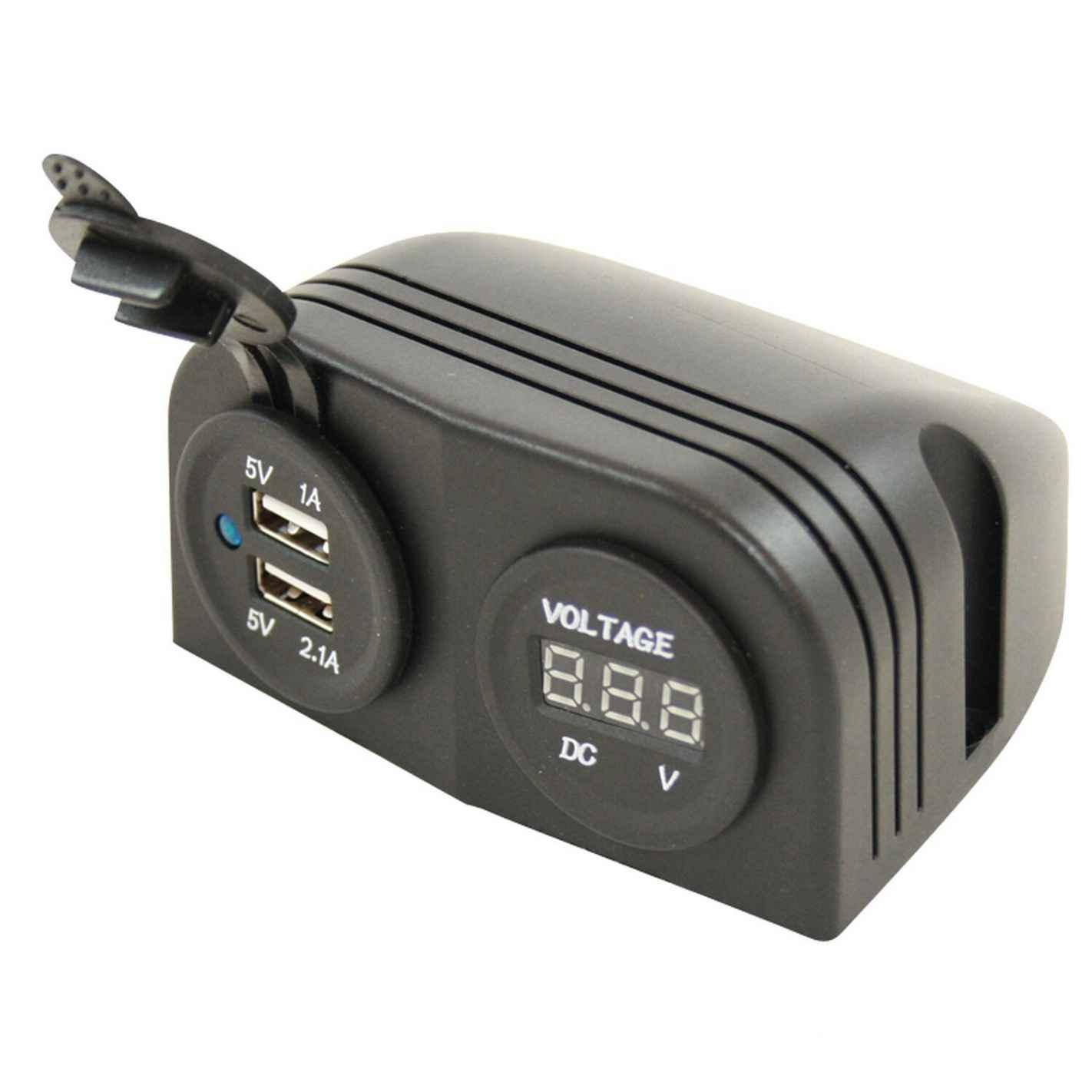 socle 2 prises usb + voltmètre en saillie haba