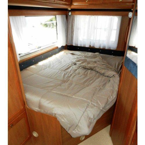lit tout fait uni beige 130/140x190 lit central