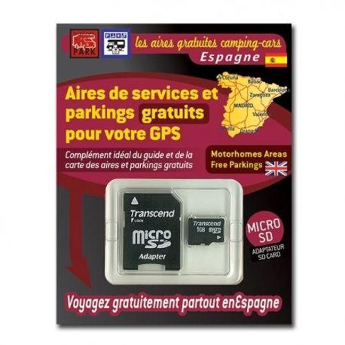 gps garmin - sd card espagne - aires et parkings gratuits