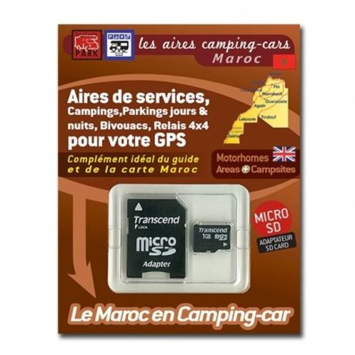 gps garmin - sd card maroc - aires camping-cars, campings et parkings