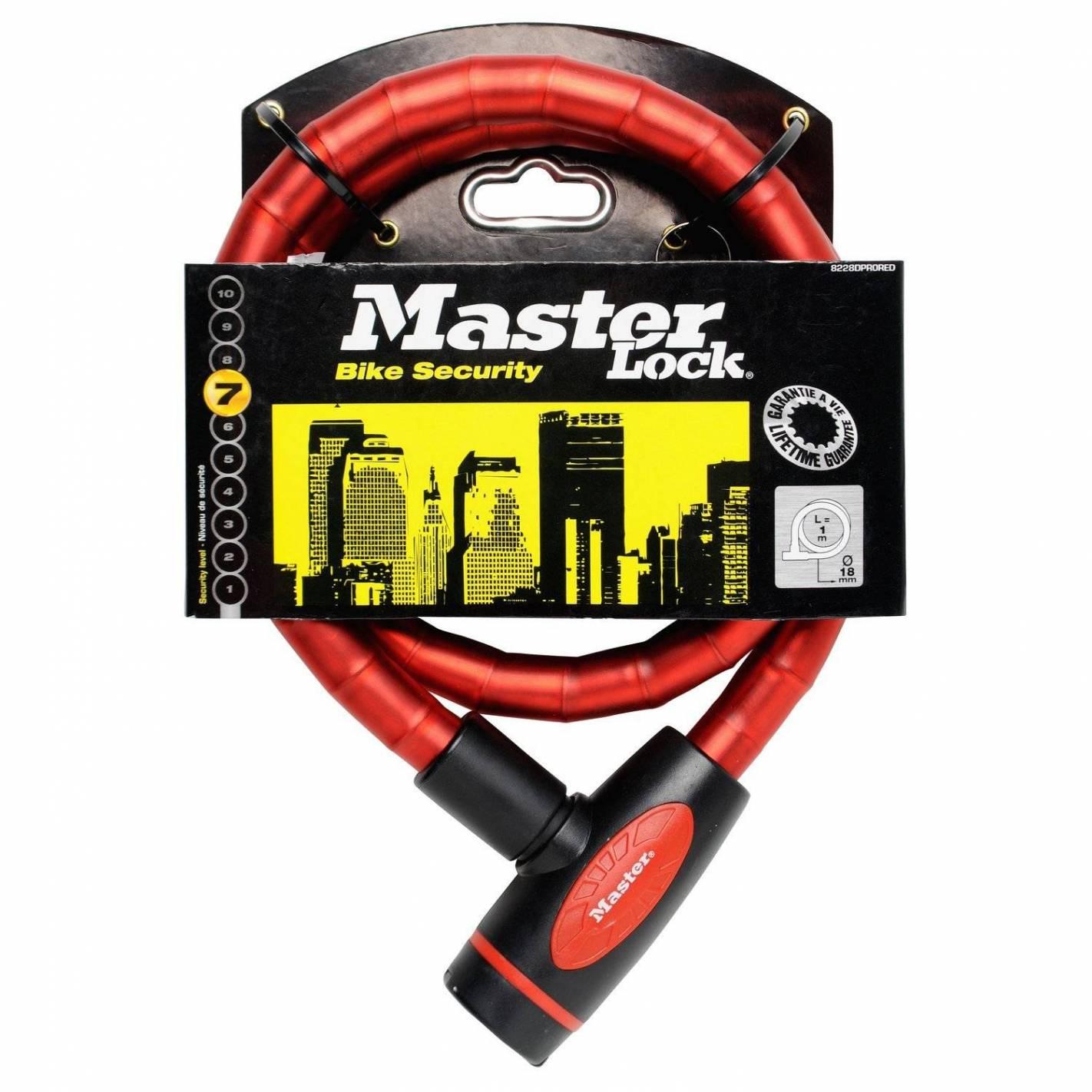 câble antivol articulé à clé - masterlock