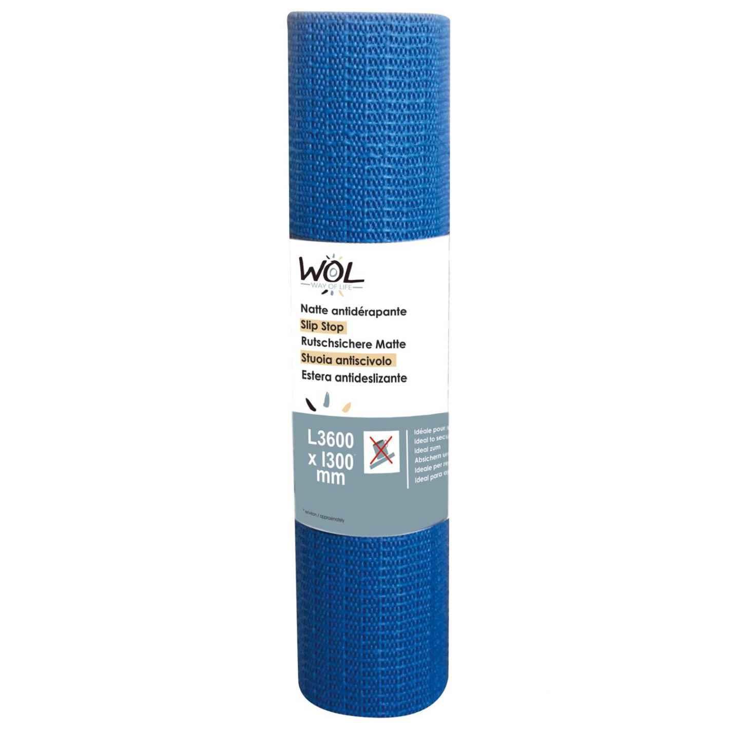tapis antiderapant 360cm x 30cm bleu