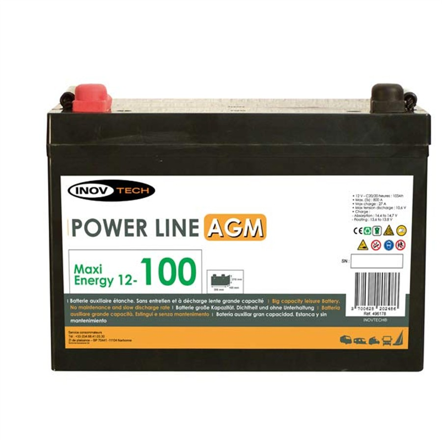 batterie camping car power line agm 100 a/h