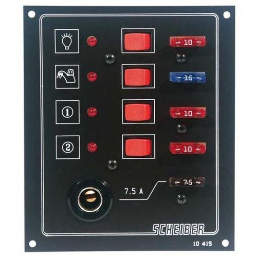 panneaux à fusibles plats 4 circuits + prise 12 volts scheiber