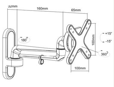 support tv 215mm 3 articulations. Black Bedroom Furniture Sets. Home Design Ideas